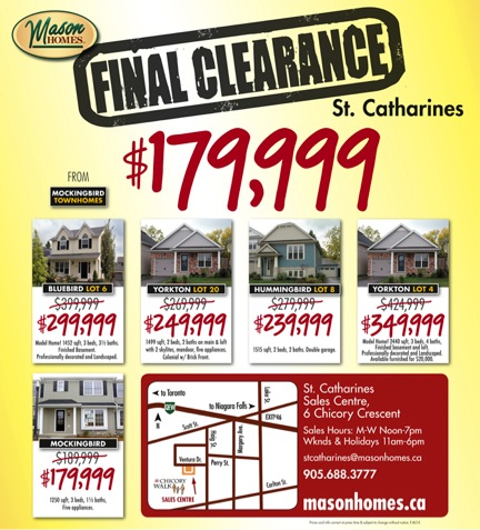 Final Clearance of New Homes in Downtown St. Catharines